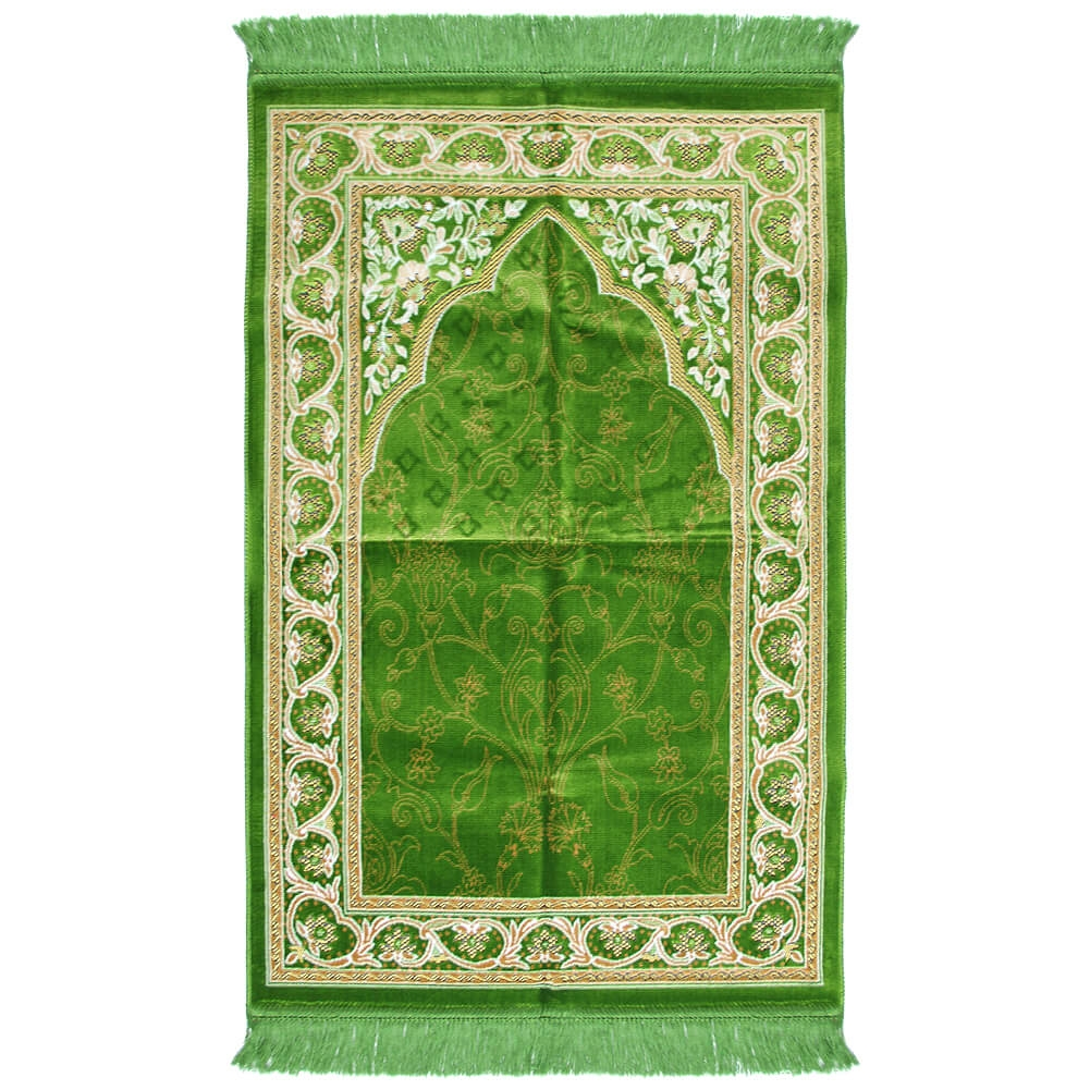 Muslim Prayer Rug 3.6\' x 2.3\' Green Yellow and White Color with ...