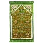 Muslim Prayer Rug 3.6' x 2.3' Green Orange and White Color with Tassels