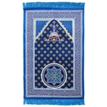 Muslim Prayer Rug 3.6' x 2.3' Blue Tan and Red Color with Tassels
