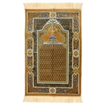 Muslim Prayer Rug 3.6' x 2.3' Tan Black and White Color Floral Design with Tassels