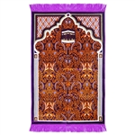 Muslim Prayer Rug 3.6' x 2.3' Orange Purple and White Color Floral Design with Tassels