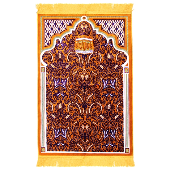 Prayer Rug 3.6' x 2.3' Orange White Purple Tassels