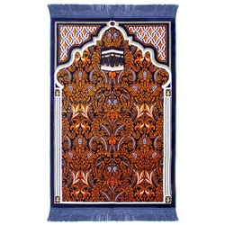 Muslim Prayer Rug 3.6' x 2.3' Orange Blue and White Color with Tassels