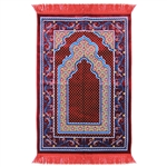 Prayer Rug 3.6' x 2.3' Red Blue Tan Color Tassels