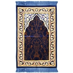 Muslim Prayer Rug 3.6' x 2.3' Blue Tan Yellow Color with Light Blue Tassels