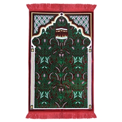 Muslim Prayer Rug 3.6' x 2.3' Green White Yellow Color with Red Tassels