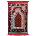 Prayer Rug Red Green Yellow Color with Tassels
