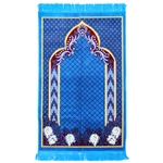 Muslim Prayer Rug 3.6' x 2.3' Blue Burgundy Yellow Color with Tassels