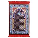 Muslim Prayer Rug 3.6' x 2.3' Blue Brown Yellow Color with Red Tassels