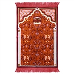 Muslim Prayer Rug 3.6' x 2.3' Burgundy White and Orange Color Pastels with Tassels