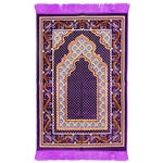 Muslim Prayer Rug 3.6' x 2.3' Purple Yellow Orange Color with Tassels