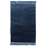Muslim Prayer Rug 3.6' x 2.3' Solid Plain Navy Blue Color with Tassels