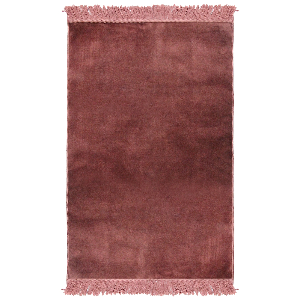 Muslim Prayer Rug 3 6 X 2 Solid Plain Dark Pink Color With Tels