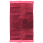 Muslim Prayer Rug 3.6' x 2.3' Solid Plain Burgundy Color with Pink Tassels