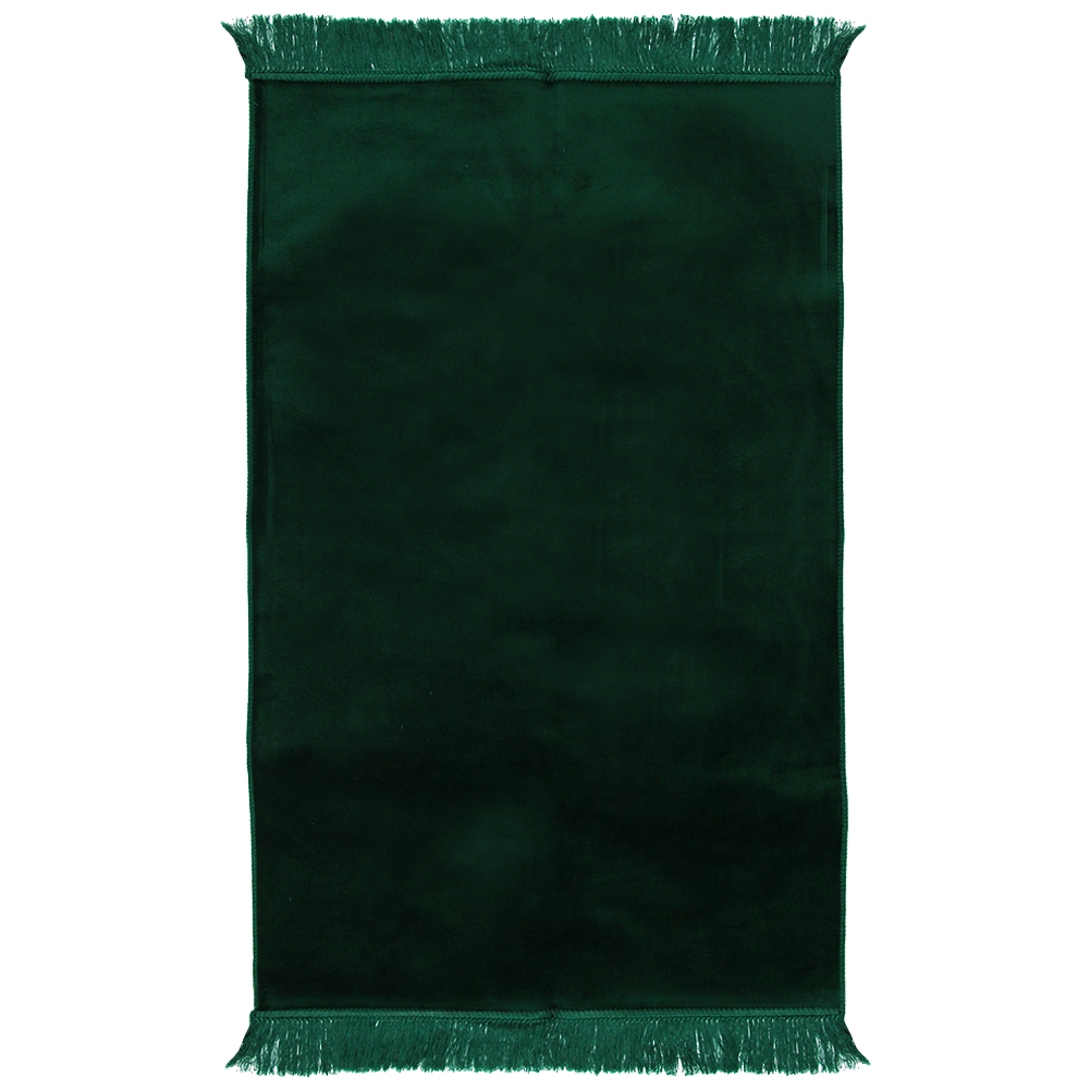 Muslim Prayer Rug 3 6 X 2 Solid Plain Dark Green Color With Tels
