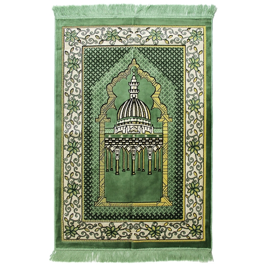 Muslim Prayer Rug 4' x 2.6' Green White and Yellow Color Flower Design with Tassels
