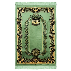 Muslim Prayer Rug 4' x 2.6' Green Black and Tan Color Flower Design with Tassels