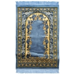 Muslim Prayer Rug 4' x 2.6' Blue and Tan Color Floral Design with Tassels