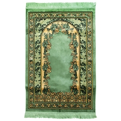 Muslim Prayer Rug 4' x 2.6' Green and Tan Color Floral Design with Tassels