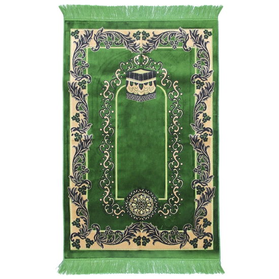 Muslim Prayer Rug 4' x 2.6' Green Black and Tan Color Floral Design with Tassels