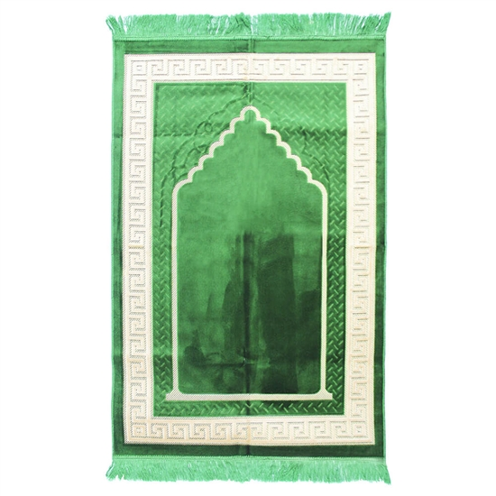 Muslim Prayer Rug 4' x 2.6' Green and White Color with Tassels
