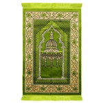 Muslim Prayer Rug 4 x 2.6' Green and Tan Color Flower Design with Tassels