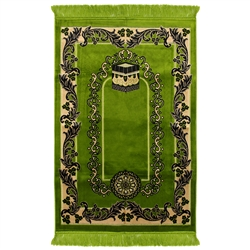 Muslim Prayer Rug 4' x 2.6' Green Tan and Black Color Floral Design with Tassels