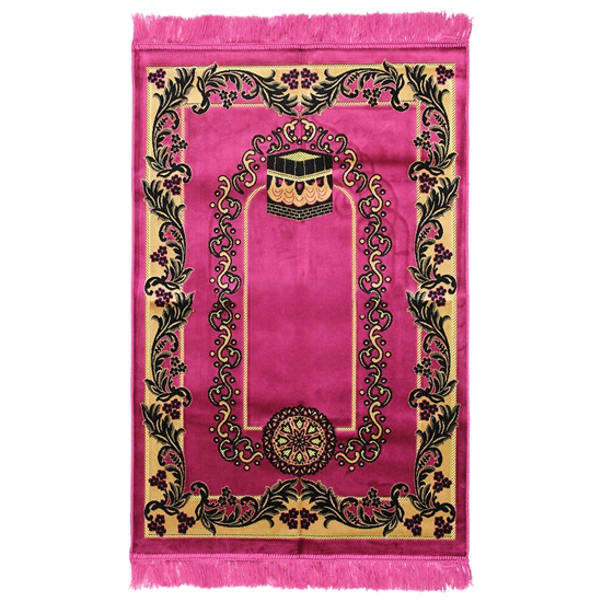 Muslim Prayer Rug 4' x 2.6' Hot Pink Tan and Black Color Floral Design with Tassels