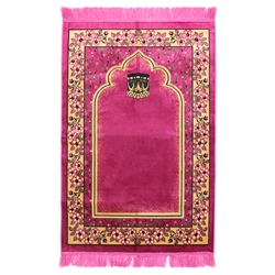 Muslim Prayer Rug 4' x 2.6' Hot Pink and Tan Color Floral Design with Tassels
