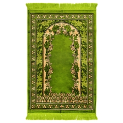 Muslim Prayer Rug 4' x 2.6' Green & Tan Color Floral Design with Tassels