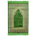 Muslim Prayer Rug Green Tan and Black Tassels.