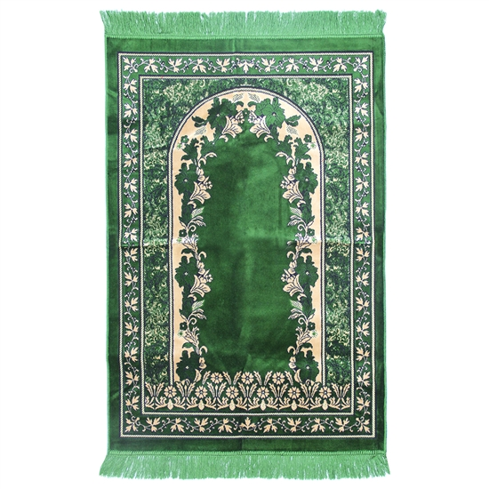 Muslim Prayer Rug Green and Tan Color with Tassels