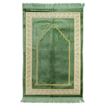 Prayer Rug Mat Green & Ivory Color with Tassels