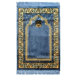 Muslim Prayer Rug Blue Black and Mustard Tassels