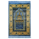 Muslim Prayer Rug Blue and Mustard with Tassels
