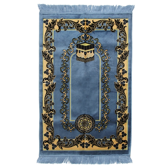 Muslim Prayer Rug Blue Tan and Black with Tassels