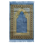 Muslim Prayer Rug Blue Yellow and Black Tassels