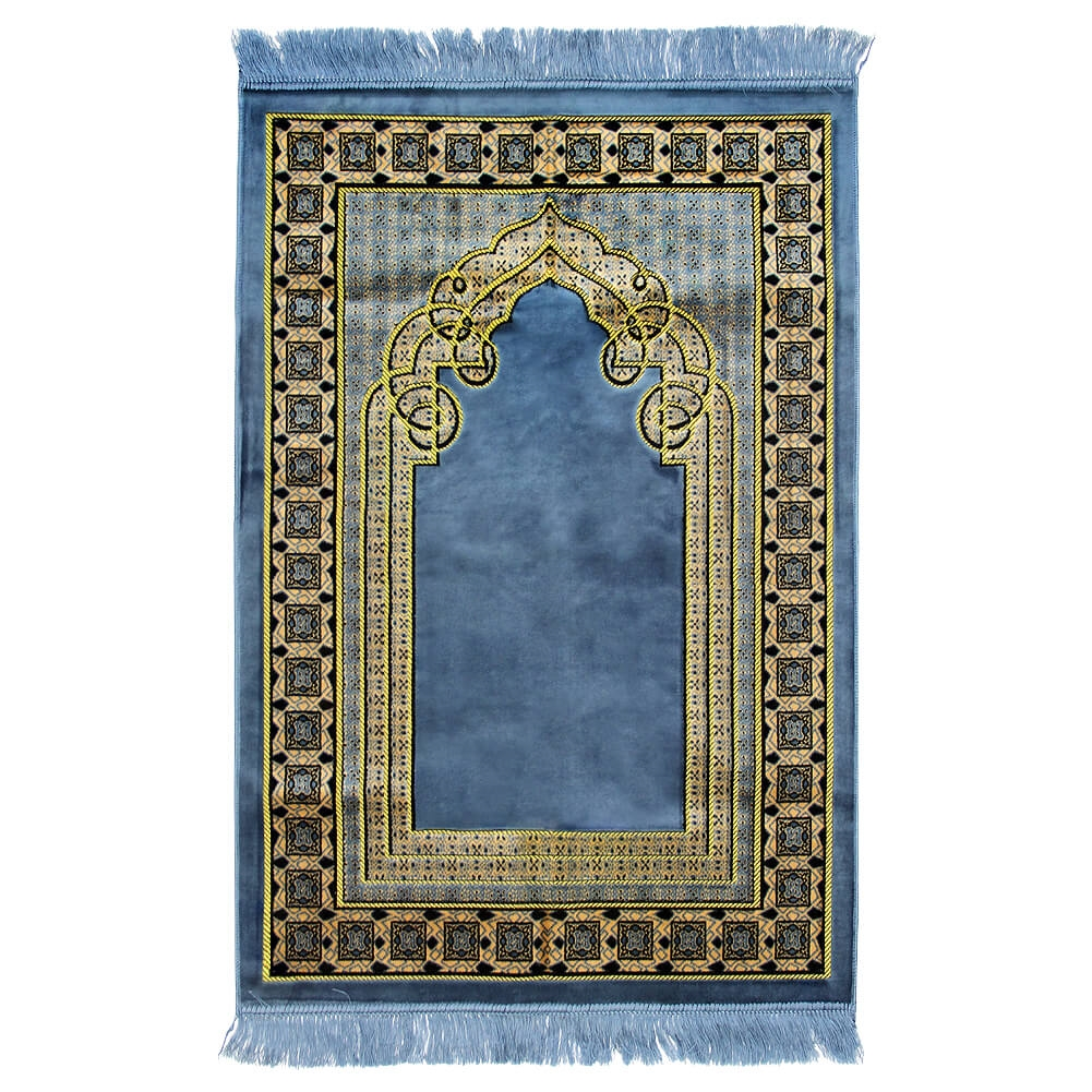 Black And White Tassel Rug: Muslim Prayer Rug 4' X 2.6' Blue Yellow And Black Color