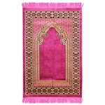 Muslim Prayer Rug Rose Yellow and Black Tassels