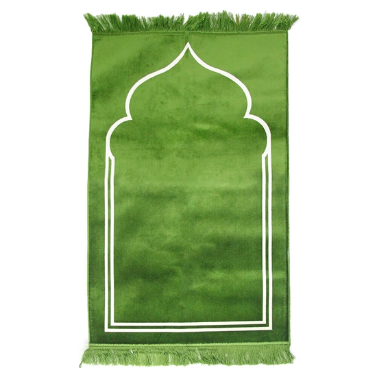 "Solid Lime Green 45"" x 27"" Prayer Mat with Simple Minimalist Archway Design"