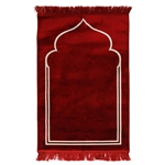 "Solid Cherry Red 45"" x 27"" Prayer Mat with Simple Minimalist Archway Design"