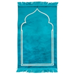 "Solid Turqoiuse 45"" x 27"" Prayer Mat with Simple Minimalist Archway Design"