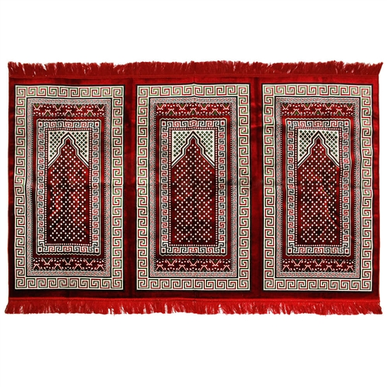 Three Person Red and Green Greek Key Design Prayer Rug with Red Tassles
