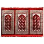 Three Person Red and Green Diamond Archway Design Prayer Rug with Red Tassles