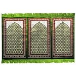 Three Person Green Lotus and Granite Prayer Rug