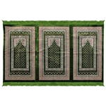 Three Person Green Double Greek Key Prayer Rug