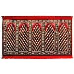 Five Person Red Green Diamond Design Prayer Rug