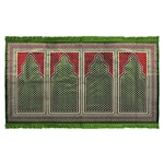 Four Person Green Greek Key and Diamond Prayer Rug