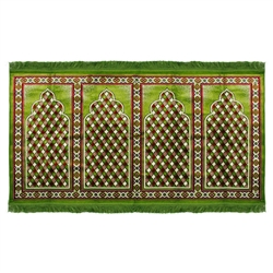 Four Person Green Red Diamond Design Prayer Rug