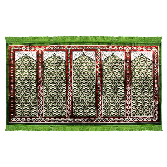 Five Person Green Lotus and Granite Prayer Rug